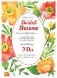 Bridal шаблон карточки приглашения ливня Стоковое Изображение
