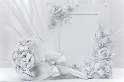 Bridal букет с рамкой для фото Стоковая Фотография
