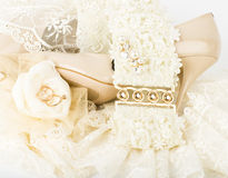 Bridal accessories and shoes Stock Image