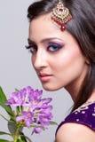 Bridal asian makeup. Beautiful asian girl with bridal makeup stock photo