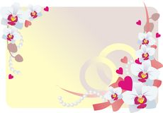 Bridal background. With flowers and hearts Royalty Free Stock Images