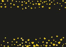 Heart frame background with gold glitter hearts. Valentines day. Vector confetti. Hand drawn texture. Bridal background with gold glitter hearts. Valentines day Royalty Free Stock Images