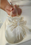 Bridal Bag. A specially sewen bridal bag held by a bride to be Stock Photo