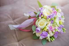 Beautiful wedding bouquet of white, pink and ultra violet flowers place for text. Stock Images