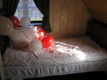 Bridal bed. Picture of bed, waiting for newlyweds. Picture is taken during weddings in Kaunas, Lithuania Stock Photography