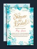 Bridal Blossoms Invitations. Floral Frame Bridal Shower Invitation or Weedding card Stock Image