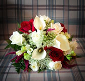 Bridal boquet. On checkered background Royalty Free Stock Images