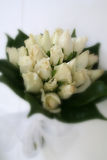 Bridal Bouquet. A white rose bridal bouquet with a soft focus filter effect on the edges Royalty Free Stock Images
