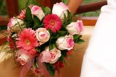 Bridal bouquet 2. Rosy colourful wedding flower arrangement Royalty Free Stock Image