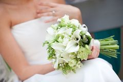 Bridal bouquet. Of wight flowers, wedding bouquet Stock Photo