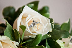 Bridal bouquet. Of white rose flowers and Groom's boutonniere Royalty Free Stock Photos