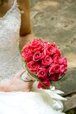 Bridal Bouquet. A bride holding her bouquet of roses royalty free stock photos