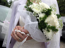 Bridal bouquet. On hands stock photography