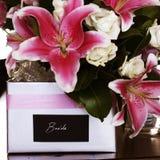 Bridal bouquet. Bride's bouquet in pink lilliums Stock Photos