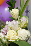 Bridal bouquet on a background of balloons Royalty Free Stock Photo