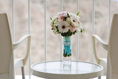 Bridal bouquet. On the balcony with a view of the mountains Stock Photography