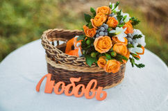 Bridal bouquet. In the basket Stock Photo