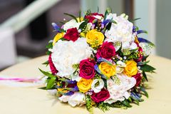 Bridal bouquet. Beautiful bridal bouquet with colorful fresh flowers Royalty Free Stock Images