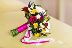 Bridal bouquet. Beautiful bridal bouquet with colorful fresh flowers Stock Images