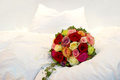 Bridal Bouquet on a bed Stock Photos