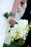 Bridal bouquet and bracelet Royalty Free Stock Images