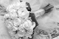 Bridal bouquet. S made with  roses in black and white Stock Image