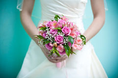 Bridal bouquet  in the the bride's hands Royalty Free Stock Images