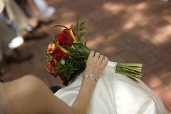 Bridal Bouquet in Bride's Lap Royalty Free Stock Photography