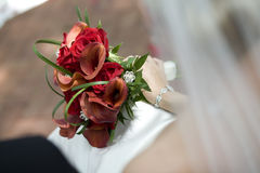 Bridal Bouquet in Bride's Lap Stock Photography