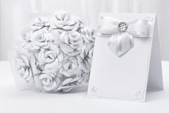 Bridal bouquet with a card Royalty Free Stock Images