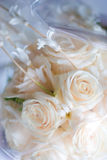Bridal bouquet in cellophane. Detail  of bridal bouquet in cellophane Royalty Free Stock Images