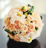 Bridal bouquet close up. Bridal bouquet on a table Royalty Free Stock Image