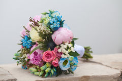 Bridal bouquet of colorful flowers and roses Stock Images