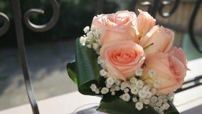 Bridal bouquet of cream roses stock video