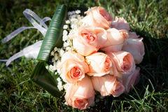 Bridal bouquet of cream roses Stock Photos