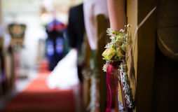 Bridal bouquet of flower at church Stock Images