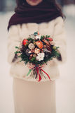 Bridal bouquet flowers. Closeup, winter royalty free stock images