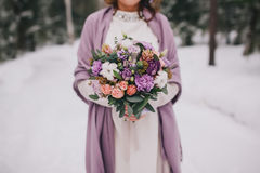 Bridal bouquet flowers. Closeup, winter royalty free stock image