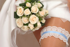bridal bouquet(focus on the fl Royalty Free Stock Photography