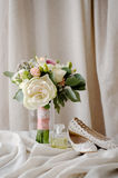 Bridal bouquet. gift bouquet. White and pink flowers on burlap  decorative clot Royalty Free Stock Photography