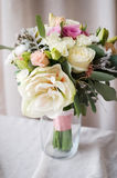 Bridal bouquet. gift bouquet. White and pink flowers on burlap  decorative clot Stock Photo