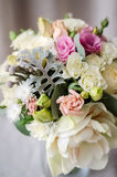 Bridal bouquet. gift bouquet. White and pink flowers on burlap  decorative clot Stock Photos