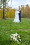 Bridal bouquet on grass Stock Photos