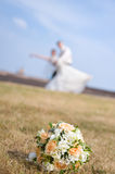 Bridal bouquet on grass Stock Photos