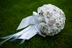 Bridal bouquet. On green background Stock Photos