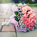 Bridal bouquet left on the track in the park Stock Photography