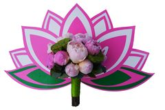 Bridal bouquet with lotuses and peonies on lotus emblem stock images