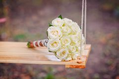 Bridal bouquet lying Royalty Free Stock Image