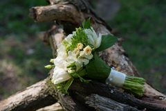 Bridal bouquet lying on the swing Royalty Free Stock Images