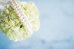 bridal bouquet with pearls - wedding, holiday and floral garden styled concept royalty free stock photography